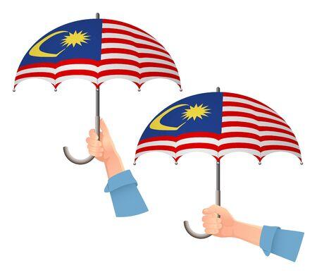 Malaysia flag umbrella. Social security concept. National flag of Malaysia vector illustration