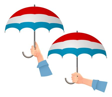 luxembourg flag umbrella. Social security concept. National flag of luxembourg vector illustration Ilustracja