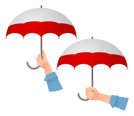 Poland flag umbrella. Social security concept. National flag of Poland vector illustration Ilustracja