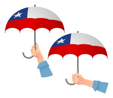 Chile flag umbrella. Social security concept. National flag of Chile vector illustration