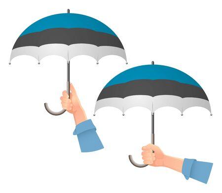 Estonia flag umbrella. Social security concept. National flag of Estonia vector illustration