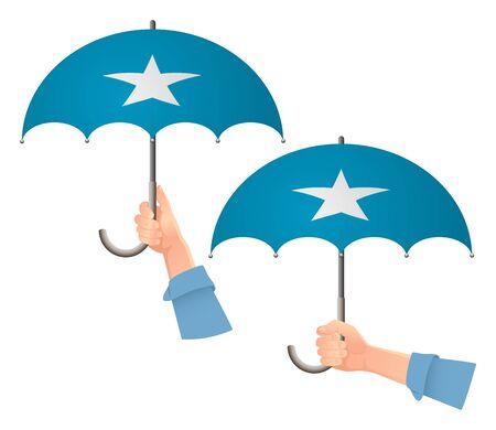 Somalia flag umbrella. Social security concept. National flag of Somalia vector illustration