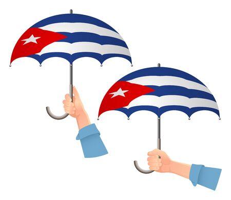 Cuba flag umbrella. Social security concept. National flag of Cuba vector illustration