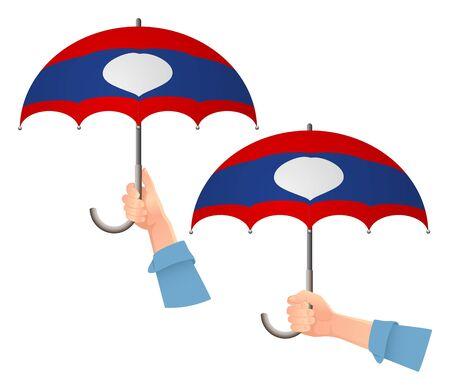 Laos flag umbrella. Social security concept. National flag of Laos vector illustration