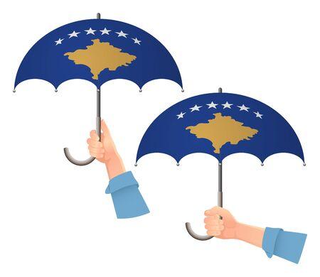 Kosovo flag umbrella. Social security concept. National flag of Kosovo vector illustration