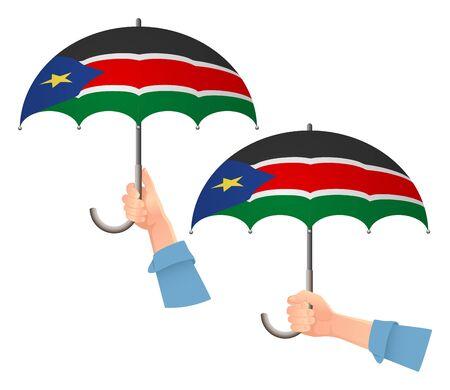 South Sudan flag umbrella. Social security concept. National flag of South Sudan vector illustration Vetores