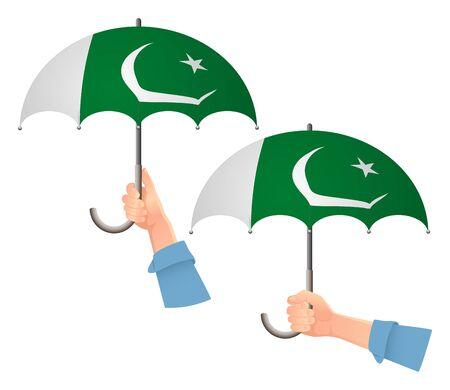 Pakistan flag umbrella. Social security concept. National flag of Pakistan vector illustration