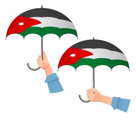 jordan flag umbrella. Social security concept. National flag of Jordan vector illustration