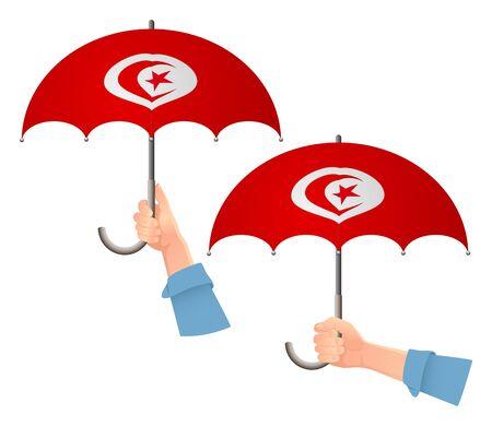 Tunisia flag umbrella. Social security concept. National flag of Tunisia vector illustration Ilustracja