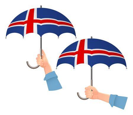 Iceland flag umbrella. Social security concept. National flag of Iceland vector illustration