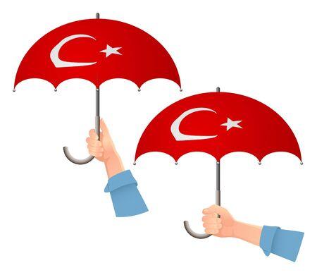 Turkey flag umbrella. Social security concept. National flag of Turkey vector illustration Ilustracja