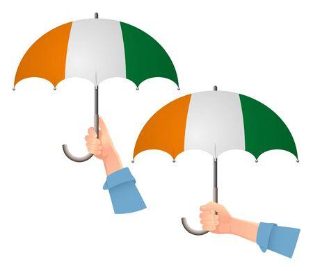 Cote divoire - Ivory Coast flag umbrella. Social security concept. National flag of Cote divoire - Ivory Coast vector illustration