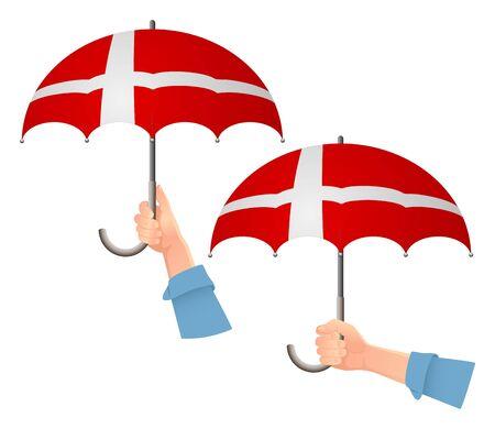 Denmark flag umbrella. Social security concept. National flag of Denmark vector illustration Ilustrace