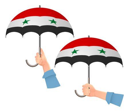 Syria flag umbrella. Social security concept. National flag of Syria vector illustration