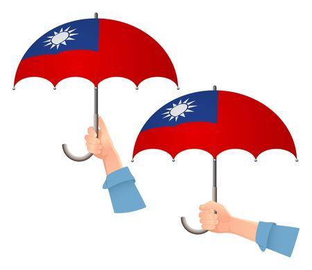 Taiwan flag umbrella. Social security concept. National flag of Taiwan vector illustration