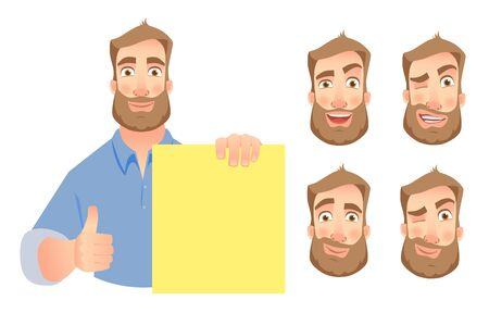 Man holding blank paper. Man showing thumbs up with blank board. Vector set.