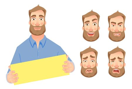 Man holding blank card. Businessman holding business card. Vector set Çizim
