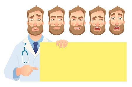 Doctor holding blank banner. Doctor vector illustration. Set Çizim