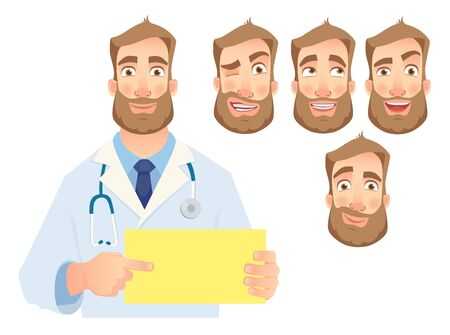 Doctor holding blank sign. Doctor pointing at the card. Set vector illustration