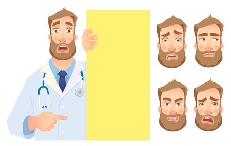 Doctor holding blank signboard - set. Doctor vector illustration.