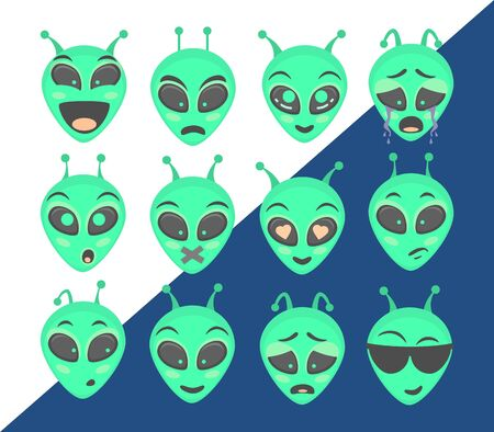 Alien head. Alien face emoji. Humanoid icon vector illustration set Çizim