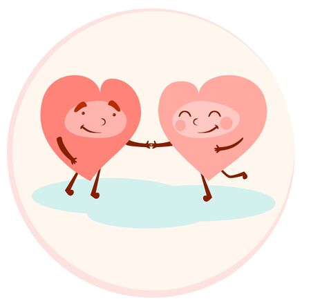 Lovers hearts hold hands. Valentines day. Two happy hearts vector illustration.