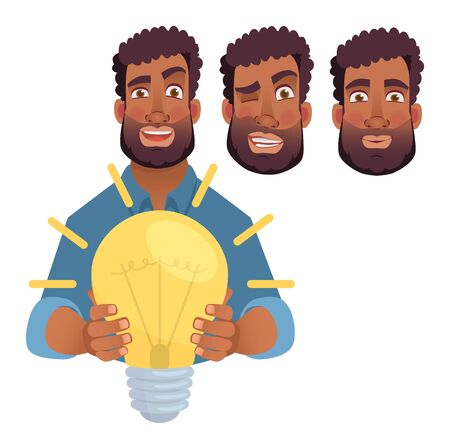 African man gives lamp. Energy and idea symbol vector illustration