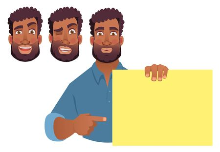 African man holding blank banner. African american man with board. Finger pointing vector illustration Çizim