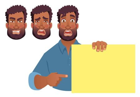 African man holding blank banner. African american man with board. Finger pointing vector illustration Ilustração