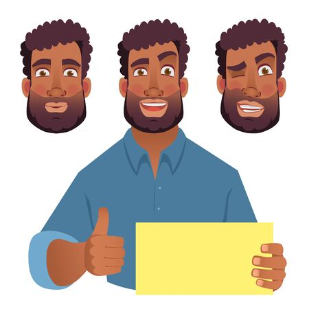 African man holding blank card. African american man with thumbs up. Vector illustration Çizim