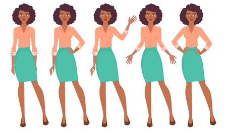African business woman set. Set of female gestures and postures vector illustration. Çizim
