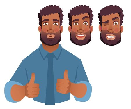 African man showing thumbs up. Vector illustration Çizim