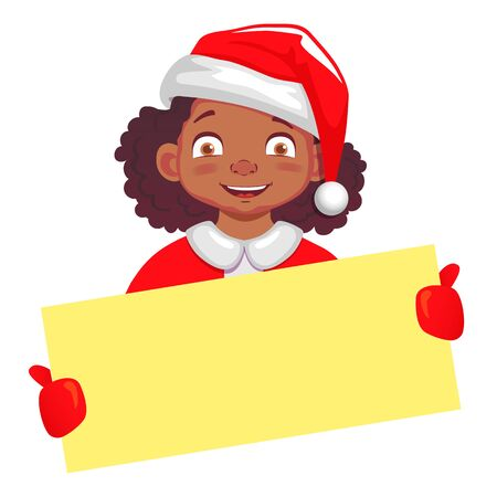 Christmas greeting. African american girl holds Christmas card. Girl in Santa Claus hat