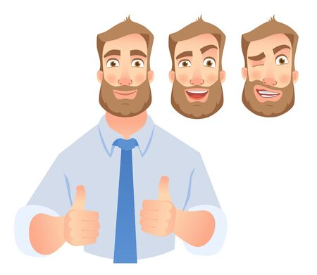 Businessman show thumb up. Business man characters vector set.