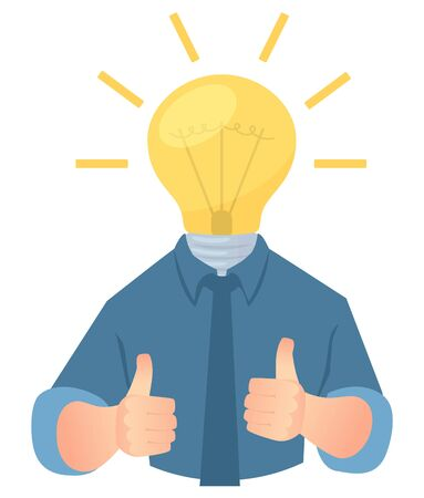 Idea for business. Idea bulb vector illustration. Thumb up. Concept of innovation