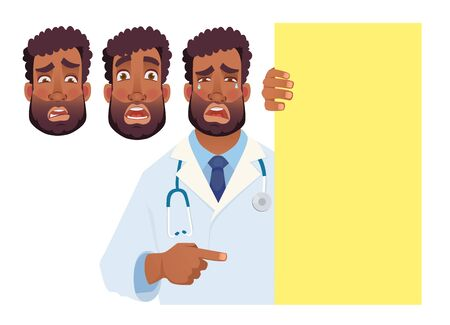 African doctor holding blank signboard. Doctor vector illustration set