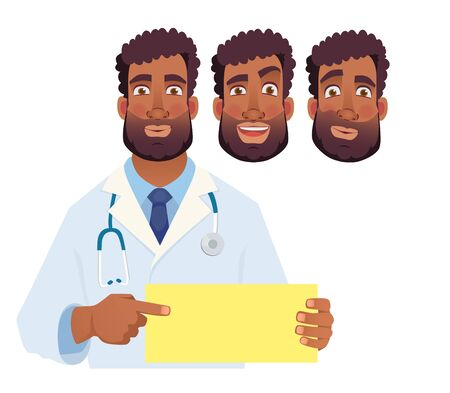 Doctor holding blank sign. African doctor pointing at the card. Set vector illustration