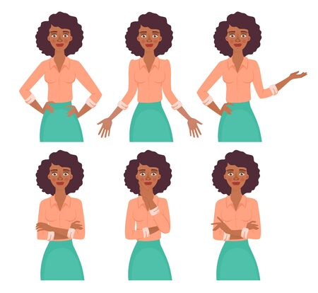 African american woman. Business pose and gesture. Young business woman vector illustration set