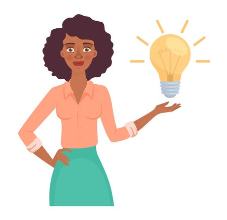 African american business woman with lamp. Energy and idea symbol vector illustration