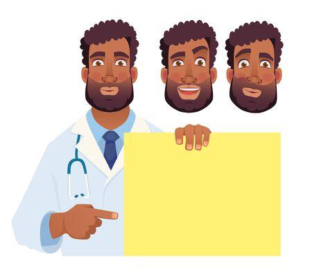 African doctor holding blank banner. Doctor vector illustration. Set