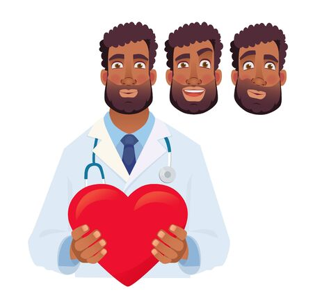 African doctor holding red heart. Cardiology concept vector illustration set Çizim