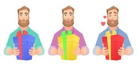 Man gives a gift. Man holding present box vector illustration