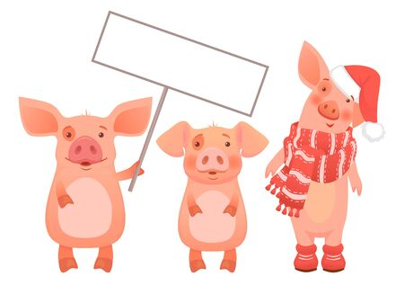 Cute pig holding sign set. Scarf and hat. Pig zodiac symbol vector illustration