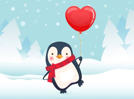 Cute penguin holding red heart balloon. Cute animal vector illustration