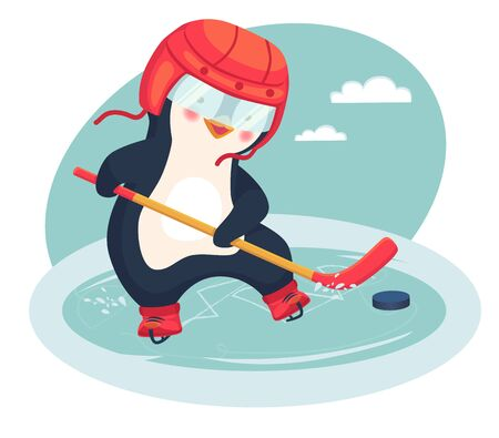 Penguin play ice hockey in the winter. Kids hockey. Childrens sports concept. Vector illustration