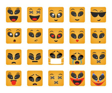 Emoticons set. Square smile vector. Face emotions for chat