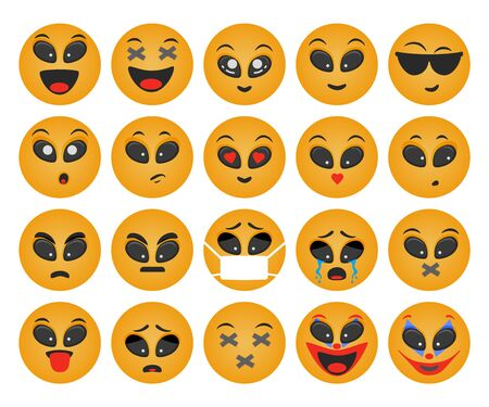 Emoticons set. Round smile vector. Face emotions for chat