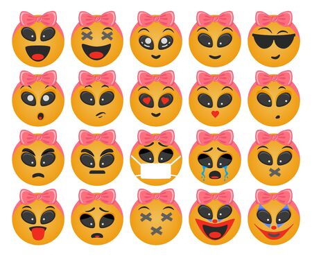 Emoticons girl set. Smile vector. Face emotions for chat Çizim