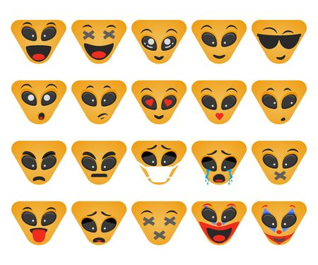 Emoticons set. Triangular smile vector. Face emotions for chat Çizim