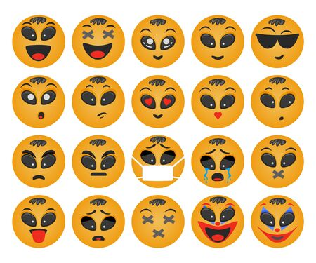 Emoticons boy set. Smile vector. Face emotions for chat Çizim